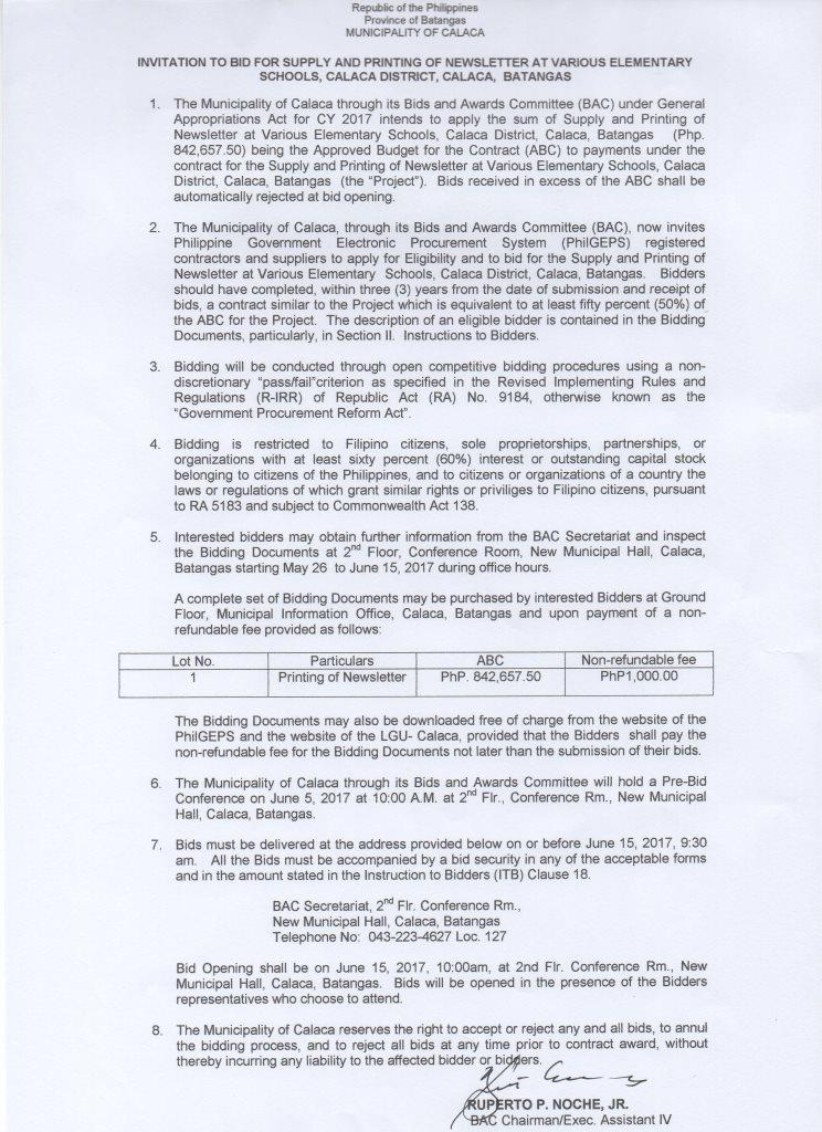 2017-05 supply-and-printing-of-newsletter deped-calaca