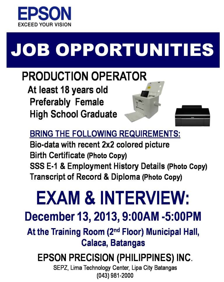 jobs epson-production-operator